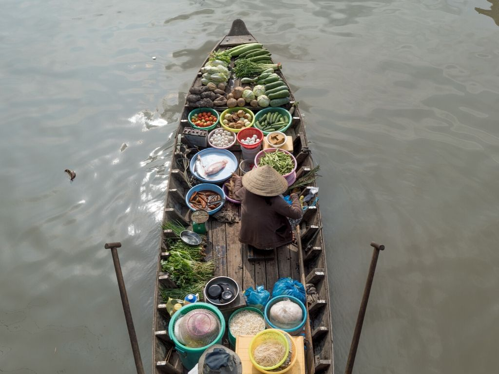 Mercados Flutuantes em Can Tho no Vietname